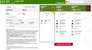 Alitalia fare conditions