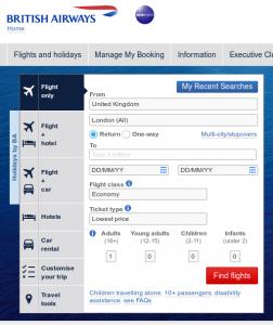 Best travel websites - British Airways