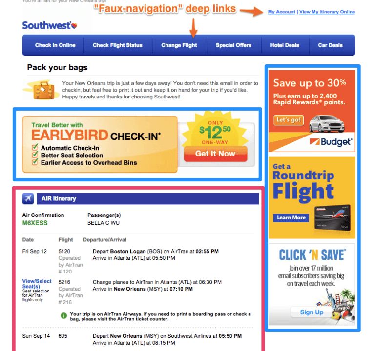 Southwest email confirmation with upselling and cross-selling