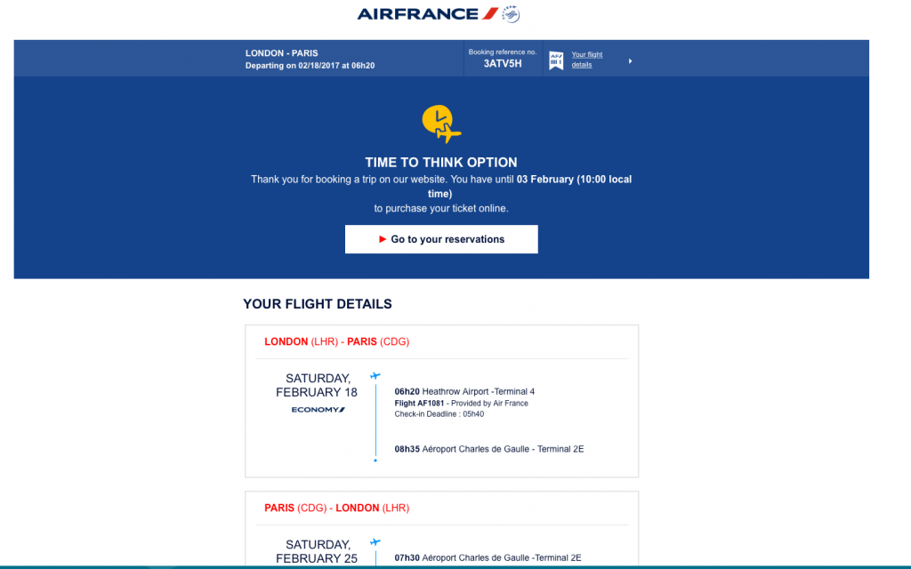 Example of AirFrance time to think booking abandonment email