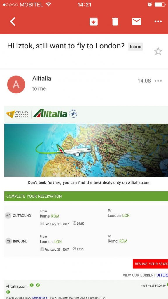Example of Alitalia booking abandonment email no.2