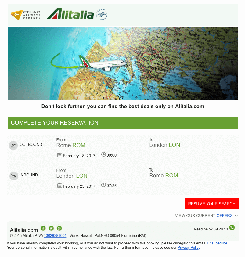 Example of Alitalia booking abandonment email no.1
