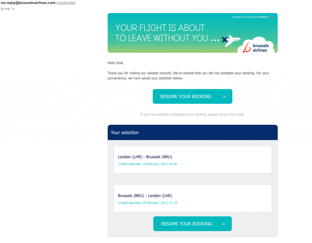 Example of Brussels booking abandonment email