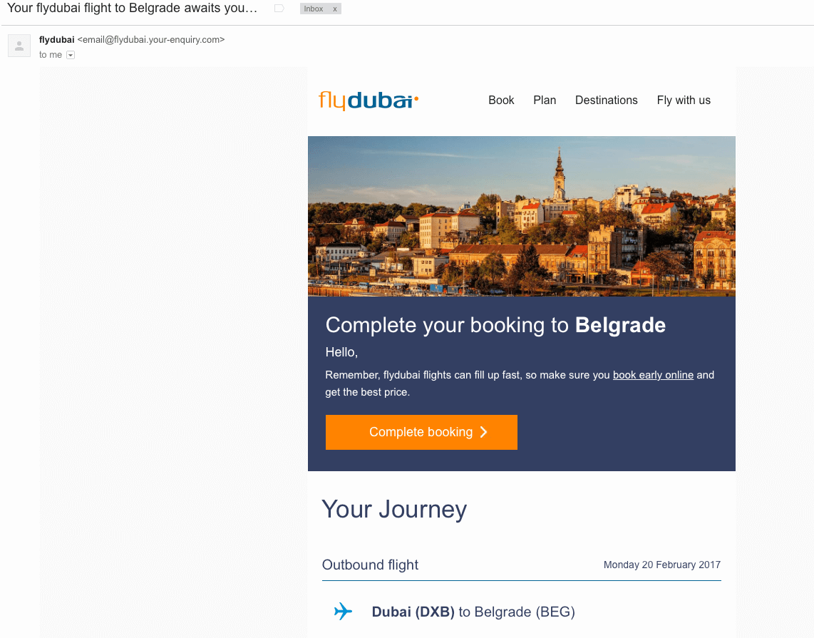 FlyDubai shopping cart abandonment email