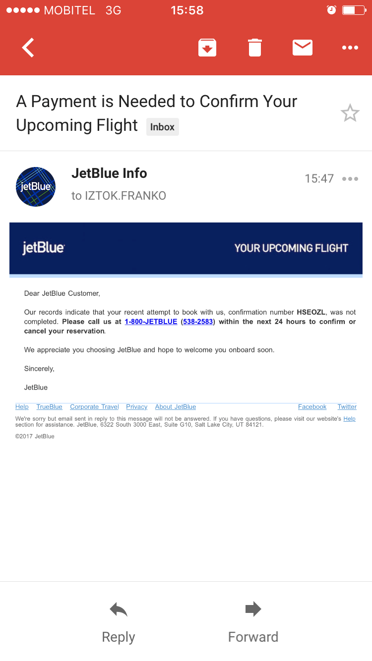 JetBlue shopping cart abandonment email
