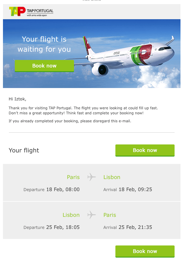 TAP example of airline booking abandonment email 1