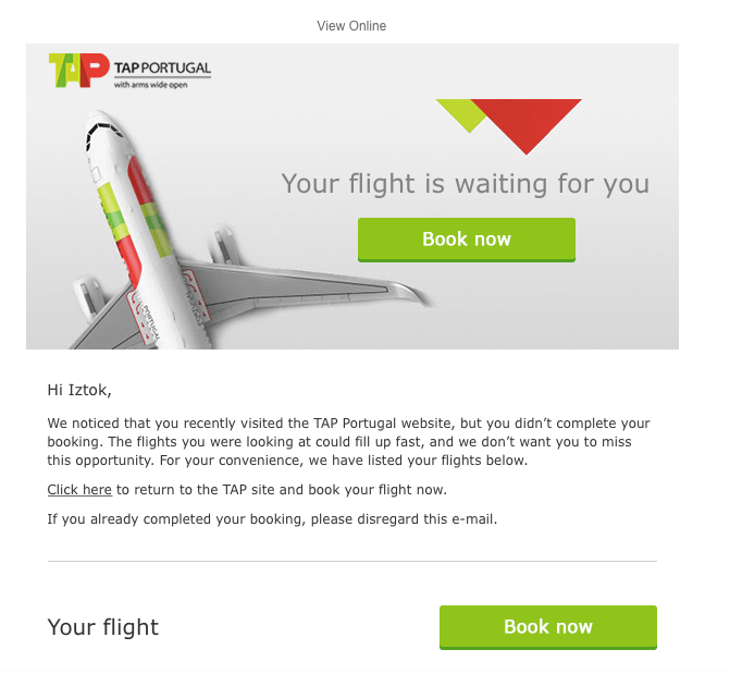 Example of booking abandonment email 2 from TAP