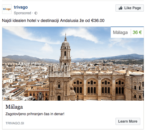 Example of dynamic facebook remarketing from Trivago