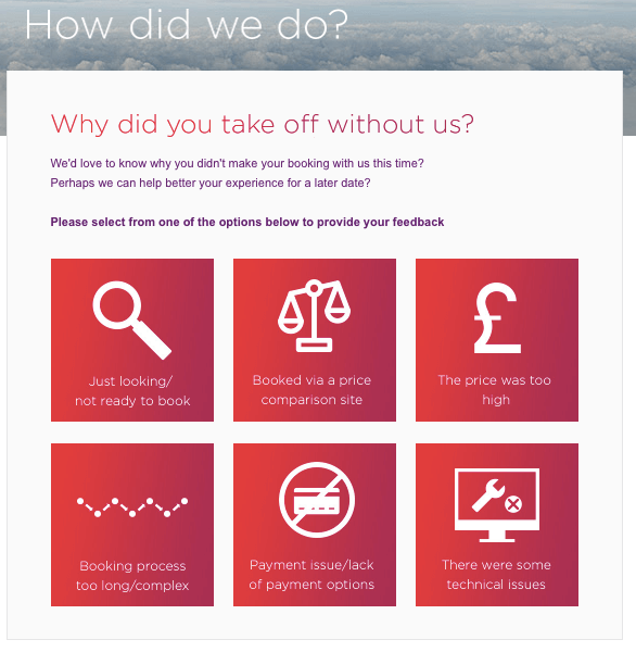Virgin Atlantic Shopping cart abandonment survey