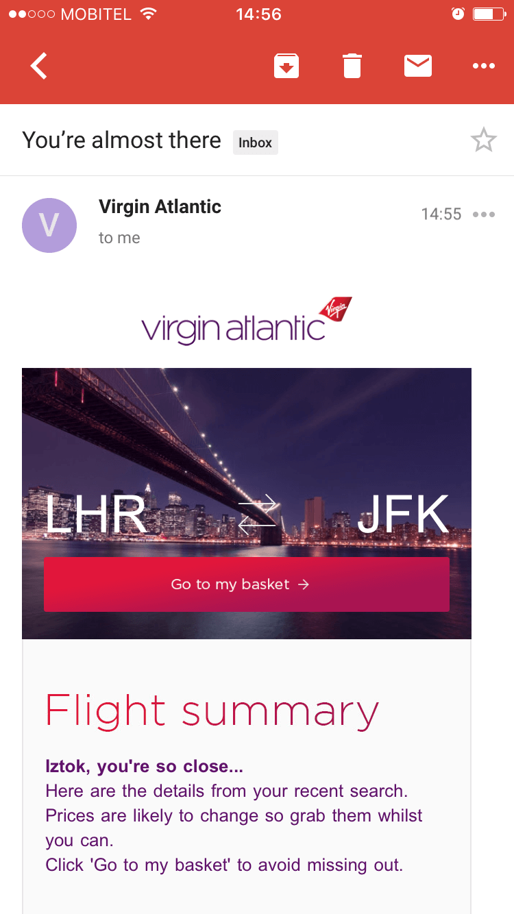 Virgin Atlantic mobile shopping cart abandonment email