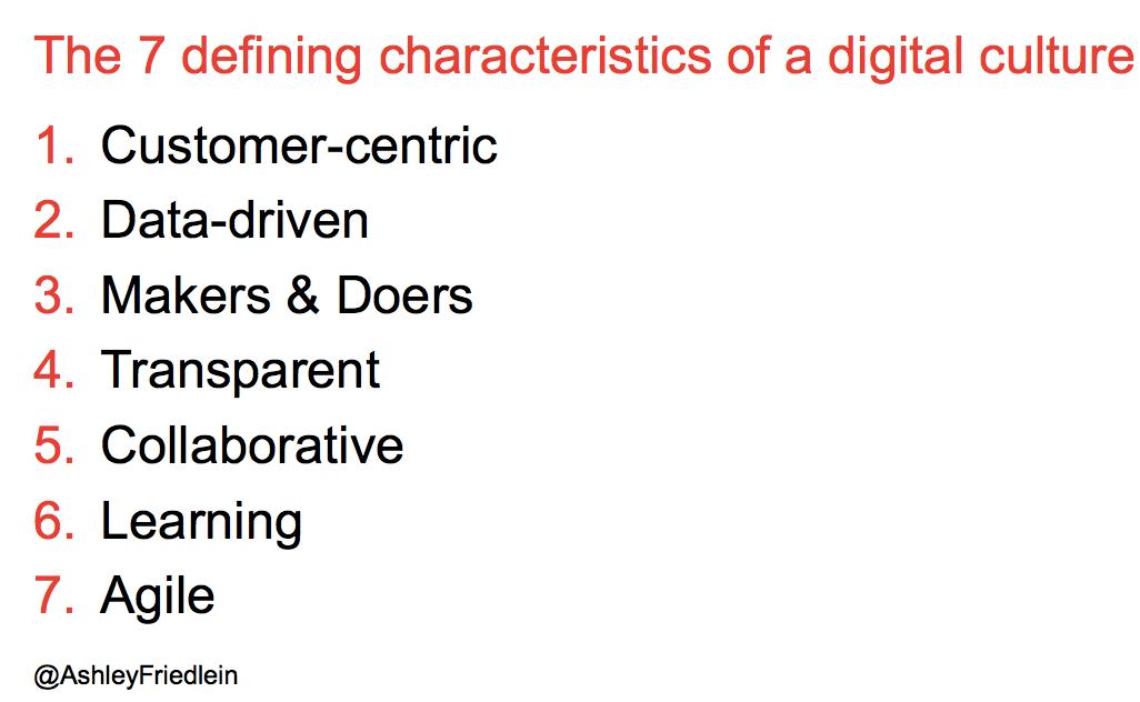 Characteristics of a digital culture