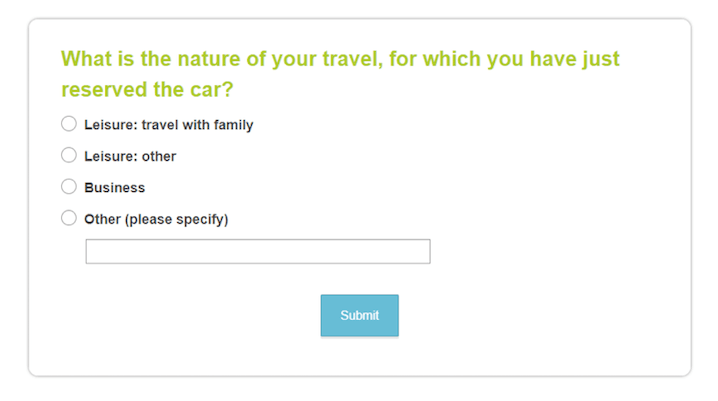 Customer segmentation on confirmation page by using survey tools