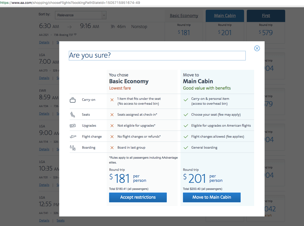 How American Airlines upsells their branded fares at booking