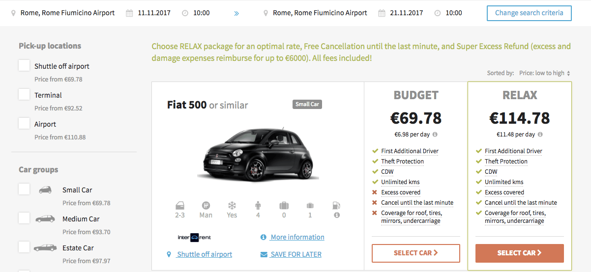 Bundled display of car product (using airline branded fares example)