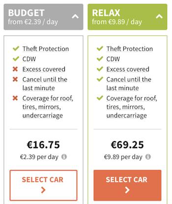Exapanded version of mobile car rental product bundle display