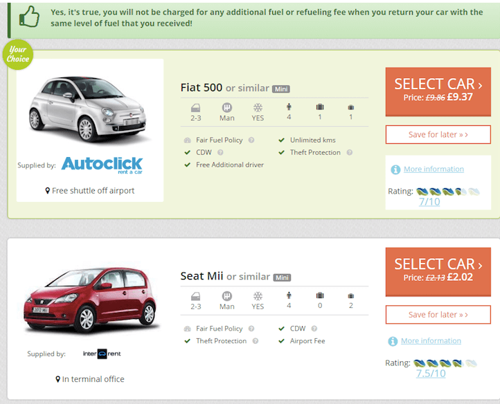 Car rental search result example without any ancillary upsell
