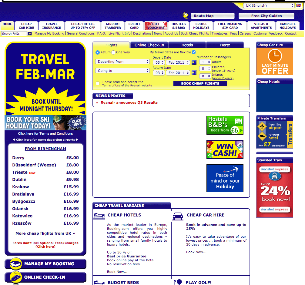 In 2011 Ryanair's website was not benchmark for UX Design