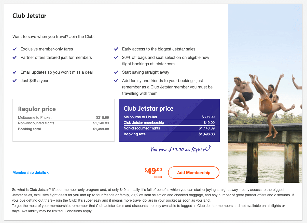 Jetstar, an Australian low cost airline offers a subscription service