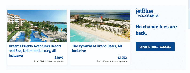 JetBlue cross-selling hotels while you book a flight
